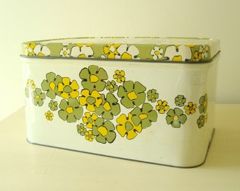 Vintage bread box, flower power avocado green yellow white daisies, large kitchen canister, food storage or craft storage, 1960s 1970 decor