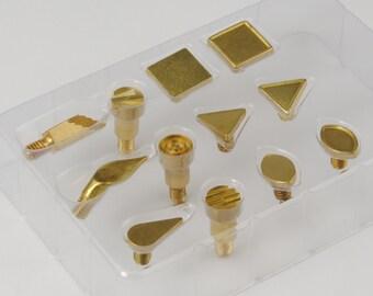 Proops cuero pirograbado leña sellos 12 pieza formas (M0618). Reino Unido libre franqueo