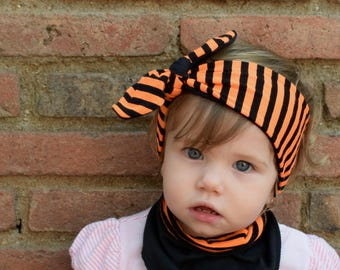 Baby Halloween Top Knot Headband, Baby Turban Headband, Baby Head Wrap, Adult headband, Coming home outfit, Baby accessories, Mommy and Me