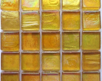 "15mm (3/5"") Yellow Gold IRIDESCENT Transparent Glass Mosaic Tiles //Mosaic Supplies//Mosaic"