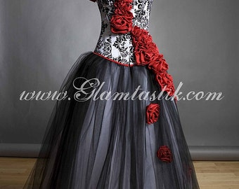 Private listing for Liss1611 Damask red rose Corset with extra roses and backings