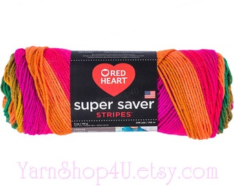 PREPPY STRIPE Red Heart Super Saver Stripes. Bright Self Striping yarn. Easy care Acrylic yarn. 5 ounce / 236 yards. Rainbow Colors! √