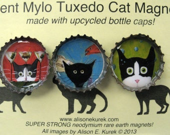 Cat Magnets - Silent Mylo Tuxedo Cat Magnets - Cat Art - Bottle Cap Magnets - Packaged Gift Set - Gift for Cat Lover - Cat Gifts