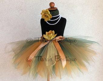 "Fall Tutu - Golden Green - Gold Yellow Green Custom Sewn 13"" Pixie Tutu - sizes newborn up to 5T - Beauty of Autumn Collection"