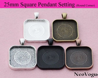 50- 25mm Square Pendant Tray, 25mm Square Cabochon Setting, Cameo Setting Frame - Free Shipping