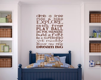 Boys Bedroom Wall Decal, Childrens Playroom Wall Art, Childrens Boy Wall Decal Vinyl Subway Art