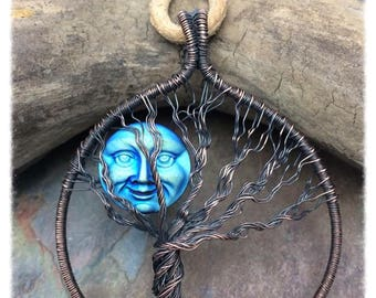 Once in a Blue Moon Tree of Life Wire Wrapped Necklace, Czech Glass Moon, Free Shipping, Leather Cord