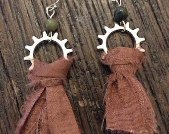 Sari Silk & Jade Earrings