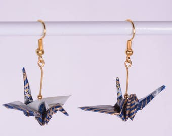 Origami Crane Earrings - Japanese Origami Earrings (Pair) for Good Luck, Blue