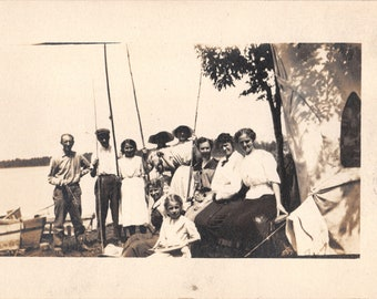 Vintage Real Photo Postcard RPPC 1920's AZO Family Fishing Cane Poles Lake