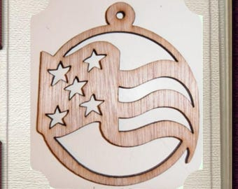 Patriotic Christmas Ornament - Laser Cut Wood