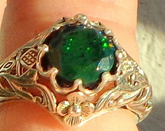 Black Welo Opal, Sterling Silver Ring, Ethiopian Black Opal Ring,Red,Yellow,Green Fire,Edwardian Style,Ornate Ring,Mystical Stone