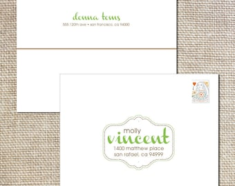 Printed envelopes to match your sophisticated baby shower