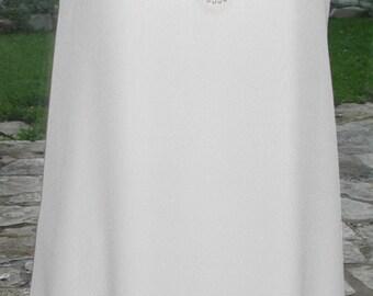 No. 500 Reversible Bridal, White CREPE SILK DRESS SImple, Casual, Wedding, Fine Finishing,  size 8-10