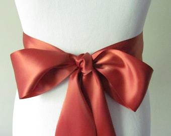 Rust Ribbon Sash / Double Faced Ribbon Sash / Bridal Sash / Bridal Ribbon / Rust