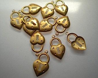 12 brass heart lock charms