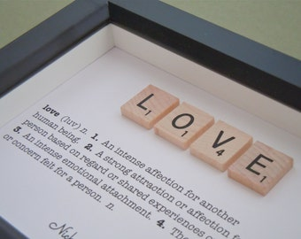 LOVE Scrabble Art, Vintage Scrabble Tiles, Unique Home Decor, Valentine's Day Gift, Gallery Wall Art, Wedding Gift, Black Shadow Box