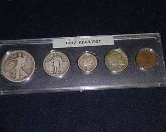 1917 Circulated Coin Year Set  - Vintage coin set