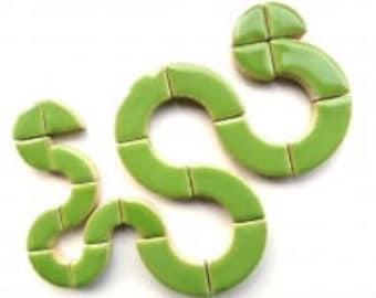 Lime Kiwi Green Curved Glazed Ceramic BULLSEYE Mosaic Pieces (3 sizes in mix)Mosaic Tiles//Mosaic Supplies//Craft Supplies