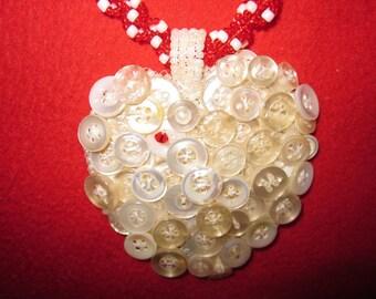 Zanzibar Heart Pendant Vintage Buttons Valentine