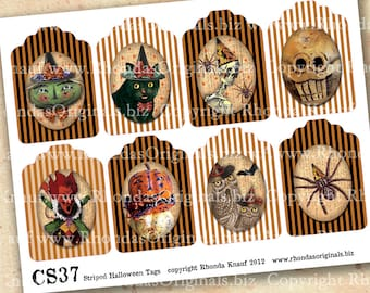Digital Halloween Tags, Images, Printable Labels, ATC Size INSTANT Download - Black Cat Devil Witch Skull Owl Pumpkin For Paper Crafts CS37C