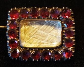 Antique Georgian Garnet Brooch Garnet Gold Hair Mourning Jewelry