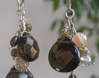 Sparkly Faceted Smokey Quartz, Clear Quartz, Labradorite Earrings