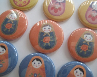 """Russian Nesting Dolls Matryoshka Doll Birthday Party Favors  Pinback Buttons or 1"""" flat back buttons"""