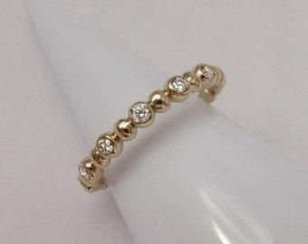 14k Diamond Bubble Ring, 14k Gold Diamond Ring, Gold 6 Stone Ring, 6 Stone Mothers Ring, Diamond Stack Ring