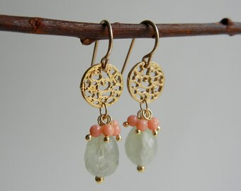 Prehnite and Coral Ayurvasita II Earrings