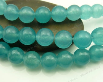 8mm Dark Turquoise Jade Round Gemstone Beads - 15.5 Inch Strand - BG11