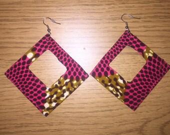African Print Diamond Hooped Earrings
