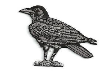 Raven - Crow - Bird - Corvus - Embroidered Black/Gray Iron On Patch - L