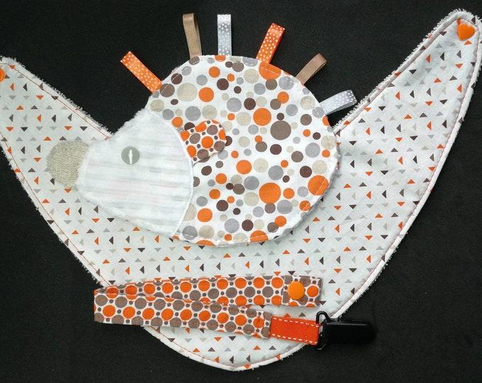 Baby bib Hedgehog pacifier pouch