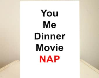 Funny Birthday Card, Funny Cards, Funny Valentine's Day Card, Funny Greeting Cards - You Me Dinner Movie Nap