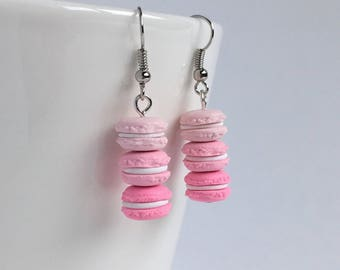 Mini french macaron earrings - pink ombré earrings - bakery minis - pastry charms