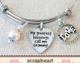 Gift for GRAMMY, Grammy Bangle Bracelet, My Greatest Blessings Call Me Grammy Bracelet Gift, Christmas Gift for Grammy, Grammy Birthday Gift