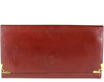 CARTIER Vintage Large Leather Wallet Burgundy