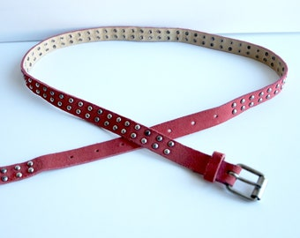 Women's Vintage Leather Skinny Belt, Red Suede Belt, Red Leather Belt, Rivets,  Thin Leather Belt