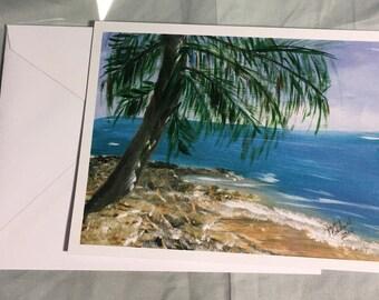 Note Card Beach w/Palm
