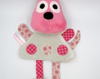 Dog flat plush pink and gray