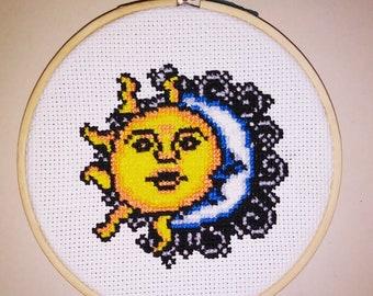 Cross Stitch Sun & Moon Hoops