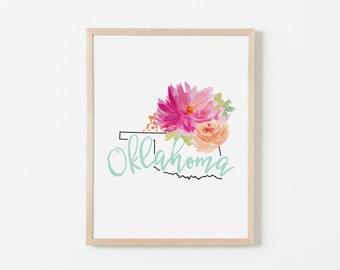 Oklahoma Floral Nursery Art. Nursery Wall Art. Nursery Prints. Oklahoma Wall Art. State Wall Art. Floral Wall Art.