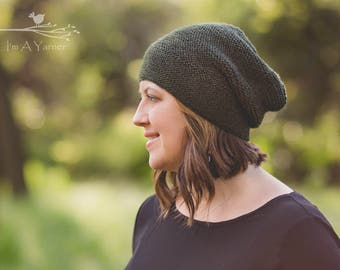 Slouchy Beanie Women, Womens Winter Hat, Knit Hat, Lightweight Beanie, Green Beanie, Slouch Hat, Hipster Hat, Knitted Beanie, Handknit Hat