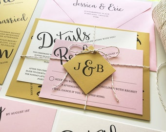 Gold and Pink Wedding Invitations, Rose Gold Wedding Invitation Suite, Black and Gold Wedding Invite Set, Metallic Ivory and Gold Twine