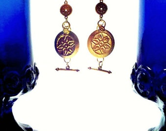 Gold Coin Drop Earrings, Tribal Fusion Belly Dance. OOAK Ethnic Jewelry