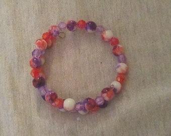 Glass Red and Purple Tie Dye Wraparound Bracelet