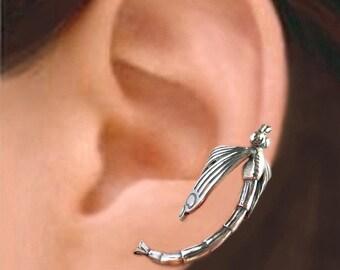Dragonfly ear cuff Sterling Silver earrings Dragonfly jewelry Dragonfly earrings Sterling silver ear cuff men women ear clip earcuff C-070