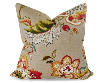 Farmhouse Pillow Cover, French Country Pillows, Farmhouse Decor, Floral Throw Pillows, Jacobean, Cushions, Oatmeal, Red Orange, 18, 20, 22