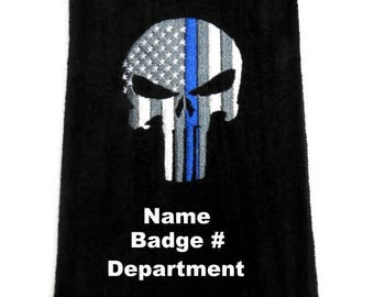 Police golf towel, thin blue line, police gift, personalize golf, skull or flag, gift for cop, customize golf, silver gray, navy blue, black